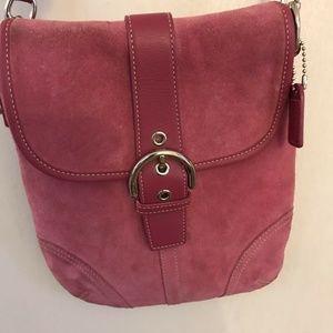 COACH Pink Suede Crossbody Bag